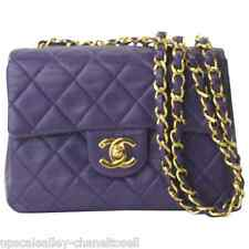 Chanel Purple Lambskin Quited Flap Mini Crossbody Bag Purse Gold Tone Chain