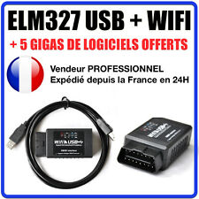 Valise DIAGNOSTIC ELM327 USB + WIFI - MULTIMARQUES OBD2 100% en Français