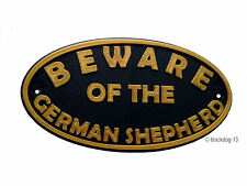 German Shepherd Beware Of The Dog Sign - House Garden Sign Plaque - Black / Gold