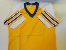 """NOS Vtg '80's Stedman Sport T Baseball Shirt Size Large 40"""" Gold White Blue USA"""