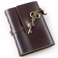 Ancicraft Leather Journal Diary with Vintage Key A6 Blank Paper Dark Coffee Gift