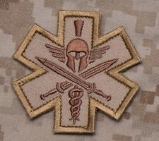 SPARTAN DESERT TACTICAL COMBAT MEDIC BADGE SFG MORALE VELCRO MILITARY PATCH
