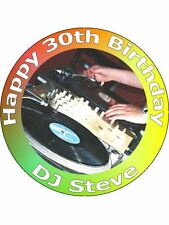"""7.5"""" DJ DISCO MUSIC DECKS CAKE TOPPERS PERSONALISED AND DECORATED ON RICE PAPER"""