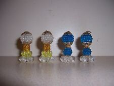 4 VTG RETRO MINI LUCITE & BRASS BEAD LAMPS - DOLLHOUSE FURNITURE