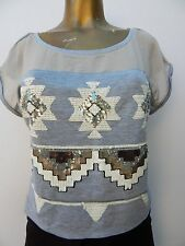 BEBE EMBELLISHED PULLOVER TOP  (NWOT ORIGINALLY $63.00  / SIZE US S)
