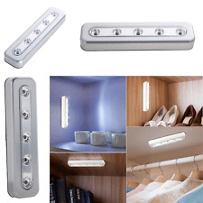 5-LED Touch Night Light Under Cabinet Closet Home Kitchen Push Tap Stick On Lamp