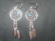 925 STERLING SILVER SOUTHWEST TURQUOISE DREAMCATCHER DREAM CATCHER EARRINGS