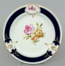 (k080) kpm Berlín plato, para 1900, flores de decoración, kobaltblau y oro, Ø 17cm