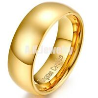 8mm Mens Women Dome Tungsten Carbide Domed Wedding Band Anniversary Ring Polish