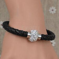 Donna Bracciale Perlina Sfera Strass Magnetico Brillante Cinturino Cuoio Nero