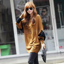 Korean Style Women Fashion Bat Sleeve Long Shirt O-neck Coffee Casual Blouses
