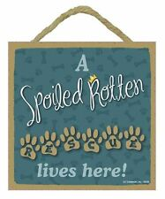 """Spoiled Rotten Rescue Lives HereSign Plaque 5""""x5"""" easel back pet gift dog puppy"""
