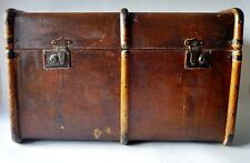 ANTIQUE VTG LGE STEAMER WOODEN & CANVAS BANDED TRUNK LUGGAGE COFFEE SIDE TABLE