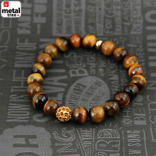 Men's Hip Hop Tiger's Eye Stone Gems Bead Elastic Stretch Wrist Bracelet KDBSB34