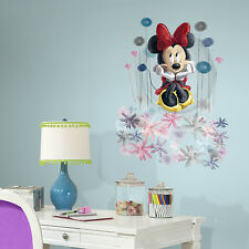 """New 34"""" GIANT MINNIE MOUSE FLORAL WALL DECALS Disney Stickers Watercolor Decor"""