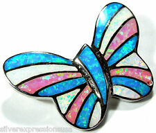 Pink, White, Blue Fire Opal Inlay 925 Sterling Silver Butterfly Pendant Necklace