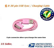 Pink 6ft 30 pin to USB Sync Data Charging Charger Cable for iPad1 iPad2 iPad3