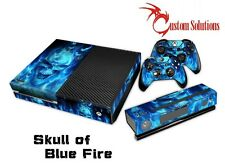 XBOX 1 ONE CONSOLE CONTROLLER DECAL STICKER SKIN SET- BLUE SKULL FLAMES UK STOCK