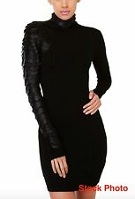 GRACIA SLITHER SNAKE SCALE TURTLENECK LEATHER SLEEVE MINI BLACK DRESS, Sz.L, New