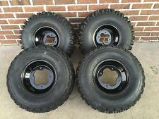 4 NEW SUZUKI LTZ250 LTZ400 450R BLACK Aluminum Rims & Slasher Tires Wheels kit