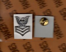 USN NAVY PO-1 Petty Officer 1st Class E-6 rate rank 1 inch hat badge brushed