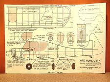 """Co2 ORD-HUME O-H 7 FLYING MODEL AIRPLANE PLAN 18"""""""