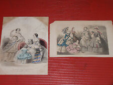 TWO ANTIQUE HAND COLORED FRENCH FASHION PRINTS JOURNAL DES DEMOISELLES