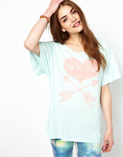 WILDFOX COUTURE IM IN LOVE SEAFOAM TEE TOP XS S 8 10 4 6 36 38!