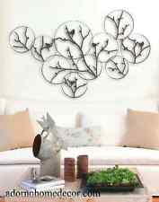 Modern Metal Tree Circle Bird Wall Decor Contemporary Rustic Cottage Art Chic