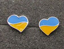 Ukrainian Blue and Yellow Heart Flag  Design Earrings, Studs, Small, Sterling S