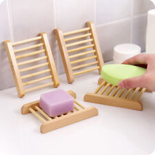 Natural Wood Soap Holder Tray Dish Storage Bath Shower Plate Home Bathroom Wash