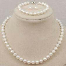 Genuine 8-9mm White Akoya Freshwater Pearl Necklace Bracelet Earrings A Set AAA+