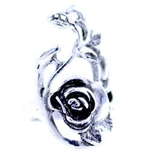 Goth style antique silver coloured rose flower ring Size N