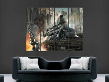 STEAM TRAIN FANTASY FIRE BRIDGE WALL POSTER ART PICTURE PRINT LARGE HUGE