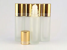 EMPTY ROLL ON BOTTLE SET 5 X 10ML REFILLABLE , ROLLER BOTTLE, FROSTED GLASS