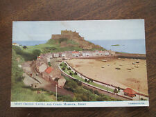 "VINTAGE COLOUR POSTCARD, "" MONT ORGUEIL CASTLE AND GOREY HARBOUR, JERSEY "" ."