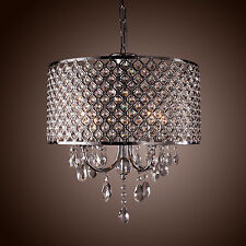 4 Lights Modern Drum Chandelier Crystal Ceiling Pendant Lighting Fixture Lamp us
