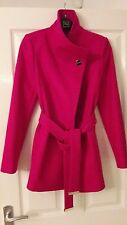 New With Tags TED BAKER NEVIA Wrap Coat Hot Pink Cashmere Wool Size0 UK 6