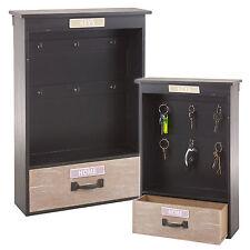 Shabby chic en bois armoire à clés boîte de rangement accessoire crochets mural cintre