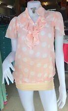 Womens Chiffon Pink White Polka Dots Short  Sleeve Long Blouse  One Size 8-12