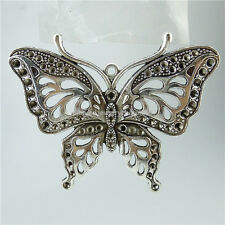 13594 3PCS Vintage Silver Alloy Large Butterfly Insect Pendant Jewelry Making