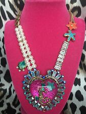 Betsey Johnson Jewels Of The Sea HUGE Lucite Seahorse Pink Heart Pearl Necklace