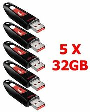 LOT 5x SanDisk 32GB Cruzer ULTRA 32 GB Flash Pen Drive SDCZ45-032G USB 32G 5 x