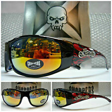 MOTORCYCLE BIKER Day RIDING CHOPPERS SUN GLASSES SHADES Black Frame - Red Flames
