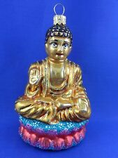 Buddha Seated Oriental Asian Glass Christmas Tree Ornament Travel Poland 011271