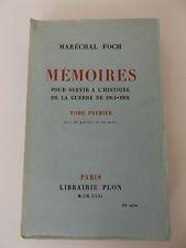1931 WW1 MEMOIRES por Servir a L'Histoire de la Guerre 1914-1918 1st Ed. FRENCH