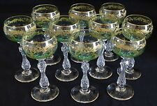 St. Louis France Set of 10 Two Tone Gilt Wines w/ Hollow Cut Crystal Stems