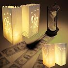 20 Double Heart White Candle Paper Bag Lantern BBQ Party Wedding Decor Luminara