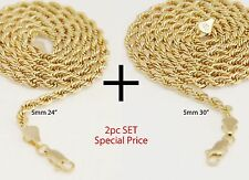 """Mens 14K Yellow Gold Plated 5mm Rope Chain Necklace 24""""+30"""" 2pc Set"""