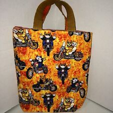 Small Tote Bag Cool Cats Riding Motorcycles Orange